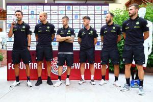 Fink, Tait, Casiraghi, Voltan, Beccaro und Karic (v.l.) bei der Pressekonferenz.