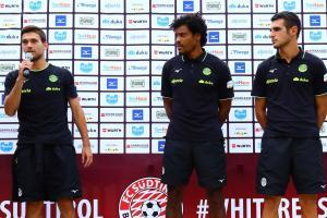 Neuzugang Candellone sowie Odogwu und Rover: Sie sollen im FCS-Sturm für Tore sorgen. Manuel Fischnaller war bei der Pressekonferenz nicht dabei.